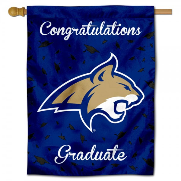 Montana State Bobcats Congratulations Graduate Flag measures 30x40 inches, is made of poly, has a top hanging sleeve, and offers dye sublimated Montana State Bobcats logos. This Decorative Montana State Bobcats Congratulations Graduate House Flag is officially licensed by the NCAA.