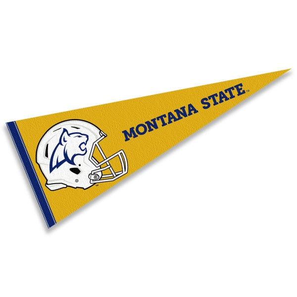 Montana State Bobcats Helmet Pennant consists of our full size sports pennant which measures 12x30 inches, is constructed of felt, is single sided imprinted, and offers a pennant sleeve for insertion of a pennant stick, if desired. This Montana State Bobcats Pennant Decorations is Officially Licensed by the selected university and the NCAA.