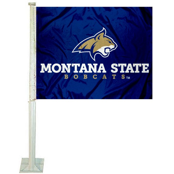 Montana State Bobcats Logo Car Flag measures 12x15 inches, is constructed of sturdy 2 ply polyester, and has screen printed school logos which are readable and viewable correctly on both sides. Montana State Bobcats Logo Car Flag is officially licensed by the NCAA and selected university.