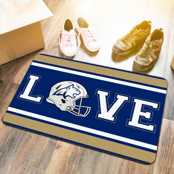 Montana State Bobcats LOVE Garage Man Cave Utility Doormat measures 17x25 inches rectangular, is made of polyester felt blends, has a durable non-slip rubber backing, and is UV, mildew, and stain resistant. Each college doormat includes Officially Licensed Logos and Insignias.