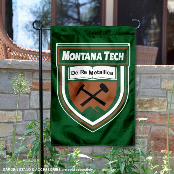 Montana Tech Diggers Academic Logo Garden Flag is 13x18 inches in size, is made of 2-layer polyester, screen printed university athletic logos and lettering, and is readable and viewable correctly on both sides. Available same day shipping, our Montana Tech Diggers Academic Logo Garden Flag is officially licensed and approved by the university and the NCAA.