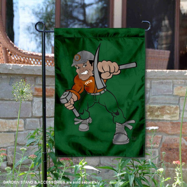 Montana Tech Diggers Charlie Oredigger Garden Flag is 13x18 inches in size, is made of 2-layer polyester, screen printed university athletic logos and lettering, and is readable and viewable correctly on both sides. Available same day shipping, our Montana Tech Diggers Charlie Oredigger Garden Flag is officially licensed and approved by the university and the NCAA.