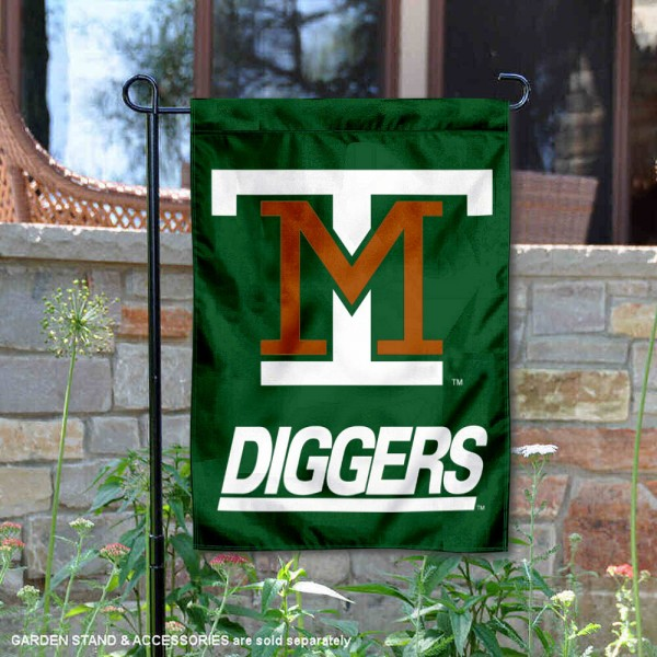Montana Tech Diggers Garden Flag is 13x18 inches in size, is made of 2-layer polyester, screen printed university athletic logos and lettering, and is readable and viewable correctly on both sides. Available same day shipping, our Montana Tech Diggers Garden Flag is officially licensed and approved by the university and the NCAA.