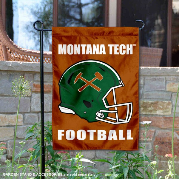 Montana Tech Diggers Helmet Yard Garden Flag is 13x18 inches in size, is made of 2-layer polyester with Liner, screen printed university athletic logos and lettering, and is readable and viewable correctly on both sides. Available same day shipping, our Montana Tech Diggers Helmet Yard Garden Flag is officially licensed and approved by the university and the NCAA.