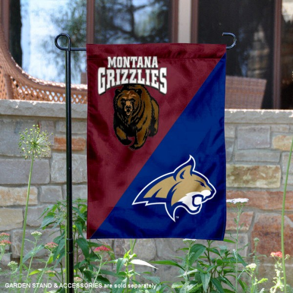 Montana vs. Montana State House Divided Garden Flag is 13x18 inches in size, is made of polyester, is double-sided, and offers screen printed university school logos. The Montana vs. Montana State House Divided Garden Flag is approved by the NCAA and the selected university.
