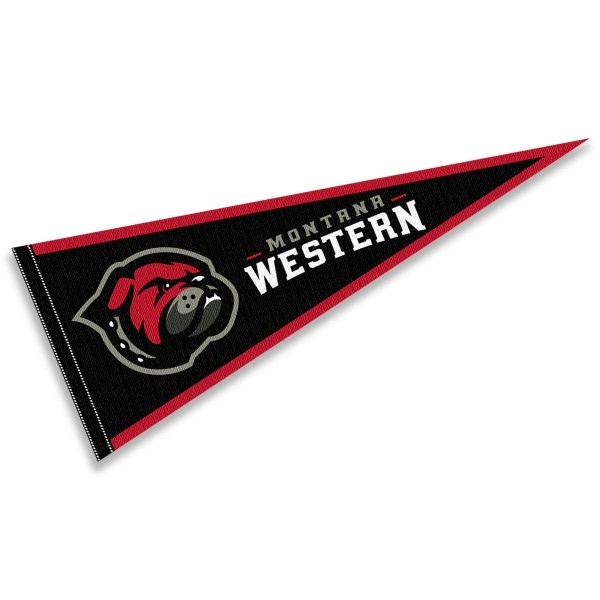 Montana Western Bulldogs Pennant consists of our full size sports pennant which measures 12x30 inches, is constructed of felt, is single sided imprinted, and offers a pennant sleeve for insertion of a pennant stick, if desired. This Montana Western Bulldogs Pennant Decorations is Officially Licensed by the selected university and the NCAA.
