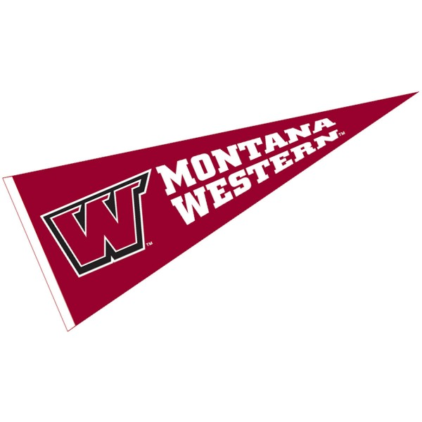 Montana Western UMW Bulldogs Pennant measures 12x30 inches, is made of wool, and the School logos are printed with raised lettering. Our Montana Western UMW Bulldogs Pennant is Officially Licensed and Approved by the University or Institution.