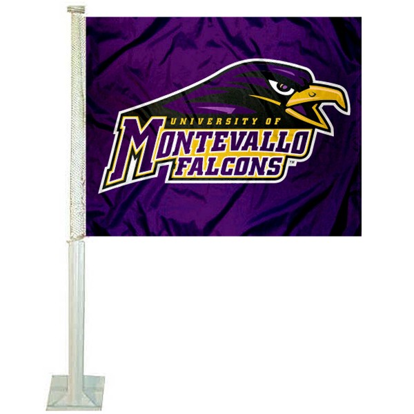 Montevallo Falcons Logo Car Flag measures 12x15 inches, is constructed of sturdy 2 ply polyester, and has screen printed school logos which are readable and viewable correctly on both sides. Montevallo Falcons Logo Car Flag is officially licensed by the NCAA and selected university.