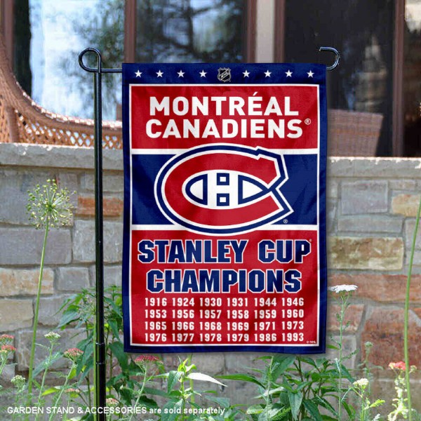 Montreal Canadiens 24 Time Stanley Cup Champions Garden Flag is 12.5x18 inches in size, is made of 2-ply polyester, and has two sided screen printed logos and lettering. Available with Express Next Day Ship, our Montreal Canadiens 24 Time Stanley Cup Champions Garden Flag is NHL Officially Licensed and is double sided.