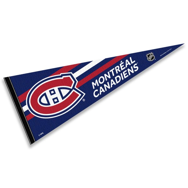 Montreal Canadiens NHL Pennant is our full size 12x30 inch pennant which is made of felt, is single sided screen printed, and is perfect for decorating at home or office. Display your NHL hockey allegiance with this NHL Genuine Merchandise item.