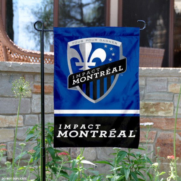 Montreal Impact Garden Flag is 12.5x18 inches in size, is made of 2-ply polyester, and has two sided screen printed logos and lettering. Available with Express Next Day Shipping, our Montreal Impact Garden Flag is MLS Genuine Merchandise and is double sided.