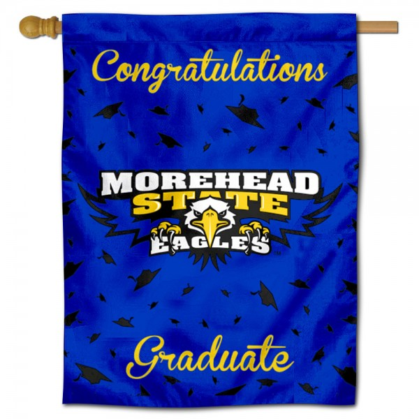 Morehead State Eagles Congratulations Graduate Flag measures 30x40 inches, is made of poly, has a top hanging sleeve, and offers dye sublimated Morehead State Eagles logos. This Decorative Morehead State Eagles Congratulations Graduate House Flag is officially licensed by the NCAA.