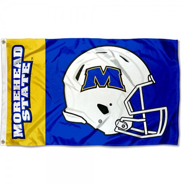 Morehead State Eagles Football Helmet Flag measures 3x5 feet, is made of 100% polyester, offers quadruple stitched flyends, has two metal grommets, and offers screen printed NCAA team logos and insignias. Our Morehead State Eagles Football Helmet Flag is officially licensed by the selected university and NCAA.