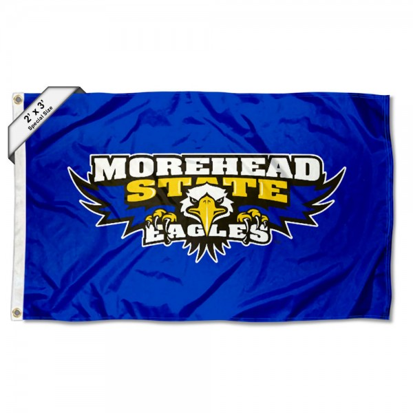 Morehead State Eagles Small 2'x3' Flag measures 2x3 feet, is made of 100% polyester, offers quadruple stitched flyends, has two brass grommets, and offers printed Morehead State Eagles logos, letters, and insignias. Our 2x3 foot flag is Officially Licensed by the selected university.