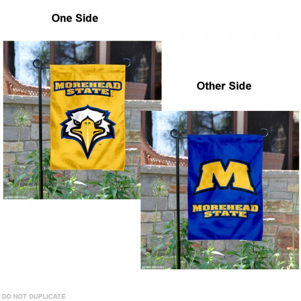 Morehead State University Dual Logo Garden Flag is 13x18 inches in size, is made of 2-layer polyester, screen printed university athletic logos and lettering, and is readable and viewable correctly on both sides. Available same day shipping, our Morehead State University Dual Logo Garden Flag is officially licensed and approved by the university and the NCAA.