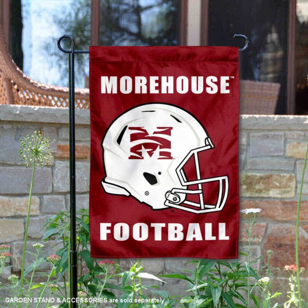 Morehouse Maroon Tigers Helmet Yard Garden Flag is 13x18 inches in size, is made of 2-layer polyester with Liner, screen printed university athletic logos and lettering, and is readable and viewable correctly on both sides. Available same day shipping, our Morehouse Maroon Tigers Helmet Yard Garden Flag is officially licensed and approved by the university and the NCAA.