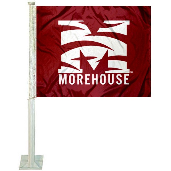 Morehouse Maroon Tigers Logo Car Flag measures 12x15 inches, is constructed of sturdy 2 ply polyester, and has screen printed school logos which are readable and viewable correctly on both sides. Morehouse Maroon Tigers Logo Car Flag is officially licensed by the NCAA and selected university.