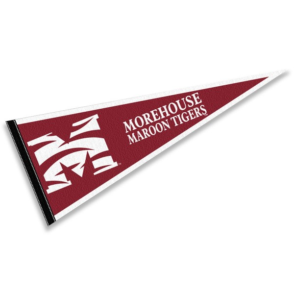 Morehouse Maroon Tigers Pennant consists of our full size sports pennant which measures 12x30 inches, is constructed of felt, is single sided imprinted, and offers a pennant sleeve for insertion of a pennant stick, if desired. This Morehouse Maroon Tigers Pennant Decorations is Officially Licensed by the selected university and the NCAA.