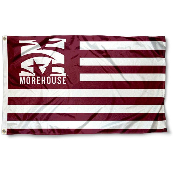 Morehouse Maroon Tigers Stripes Flag measures 3'x5', is made of polyester, offers double stitched flyends for durability, has two metal grommets, and is viewable from both sides with a reverse image on the opposite side. Our Morehouse Maroon Tigers Stripes Flag is officially licensed by the selected school university and the NCAA.