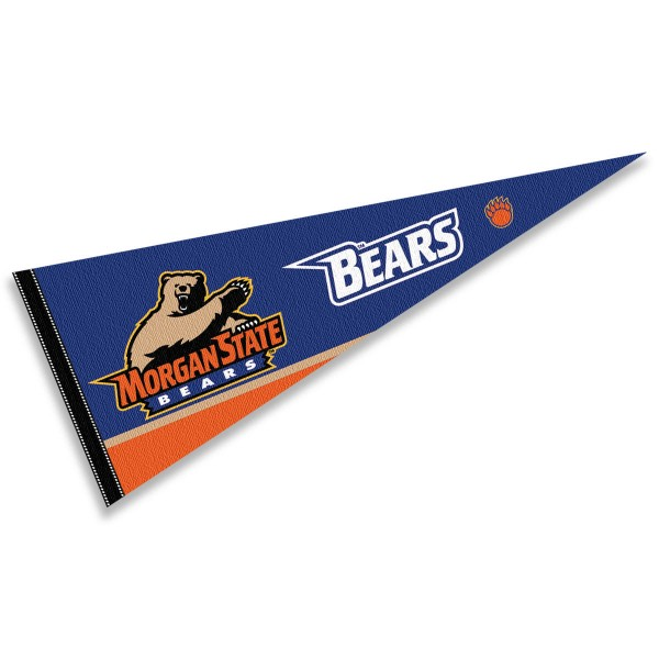 Morgan State University Pennant consists of our full size sports pennant which measures 12x30 inches, is constructed of felt, is single sided imprinted, and offers a pennant sleeve for insertion of a pennant stick, if desired. This Morgan State University Felt Pennant is officially licensed by the selected university and the NCAA.