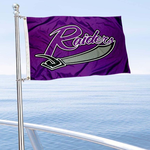 Mount Union Raiders Boat and Mini Flag is 12x18 inches, polyester, offers quadruple stitched flyends for durability, has two metal grommets, and is double sided. Our mini flags for University of Mount Union are licensed by the university and NCAA and can be used as a boat flag, motorcycle flag, golf cart flag, or ATV flag.