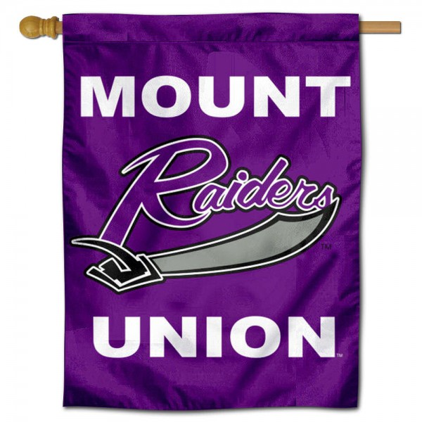 Mount Union Raiders Logo Double Sided House Flag is a vertical house flag which measures 30x40 inches, is made of 2 ply 100% polyester, offers screen printed NCAA team insignias, and has a top pole sleeve to hang vertically. Our Mount Union Raiders Logo Double Sided House Flag is officially licensed by the selected university and the NCAA.