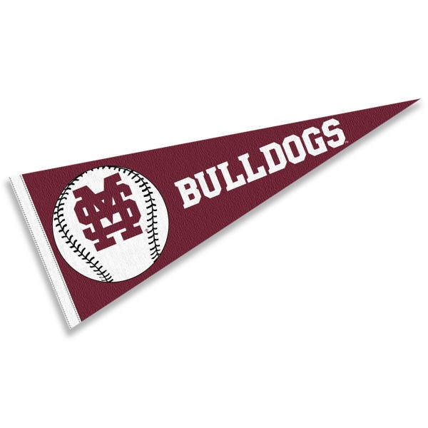 MSU Bulldogs Baseball Pennant consists of our full size sports pennant which measures 12x30 inches, is constructed of felt, is single sided imprinted, and offers a pennant sleeve for insertion of a pennant stick, if desired. This MSU Bulldogs Pennant Decorations is Officially Licensed by the selected university and the NCAA.