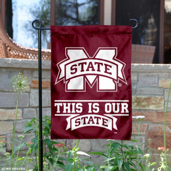 MSU Bulldogs Our State Logo Garden Flag is 13x18 inches in size, is made of 2-layer polyester, screen printed MSU Bulldogs Our State athletic logos and lettering. Available with Same Day Express Shipping, Our MSU Bulldogs Our State Logo Garden Flag is officially licensed and approved by MSU Bulldogs Our State and the NCAA.
