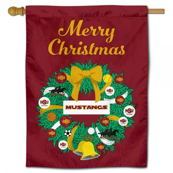 MSU Mustangs Happy Holidays Banner Flag measures 30x40 inches, is made of poly, has a top hanging sleeve, and offers dye sublimated MSU Mustangs logos. This Decorative MSU Mustangs Happy Holidays Banner Flag is officially licensed by the NCAA.