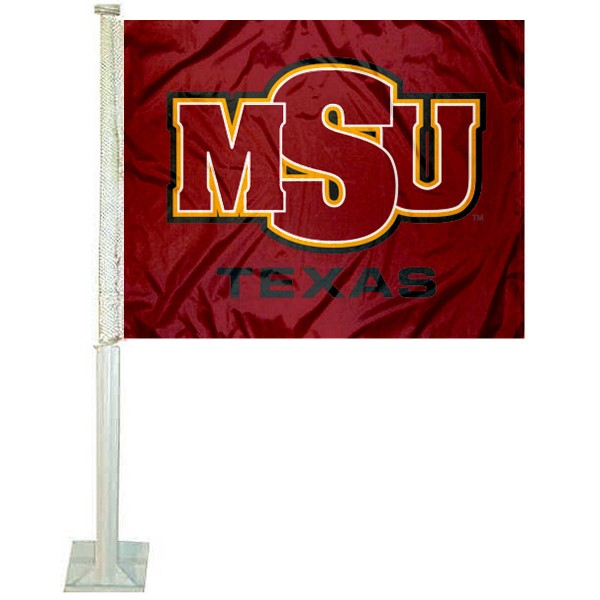 MSU Mustangs Logo Car Flag measures 12x15 inches, is constructed of sturdy 2 ply polyester, and has screen printed school logos which are readable and viewable correctly on both sides. MSU Mustangs Logo Car Flag is officially licensed by the NCAA and selected university.