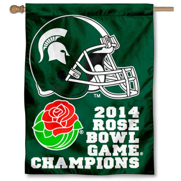 MSU Spartan 2014 Rose Bowl Champs House Flag is a vertical house flag which measures 30x40 inches, is made of 2 ply 100% polyester, offers screen printed NCAA team insignias, and has a top pole sleeve to hang vertically. Our MSU Spartan 2014 Rose Bowl Champs House Flag is officially licensed by the selected university and the NCAA.