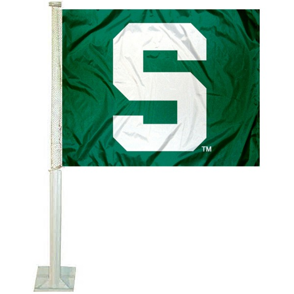 MSU Spartans Car Window Flag measures 12x15 inches, is constructed of sturdy 2 ply polyester, and has screen printed school logos which are readable and viewable correctly on both sides. MSU Spartans Car Window Flag is officially licensed by the NCAA and selected university.