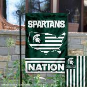 MSU Spartans Garden Flag with USA Country Stars and Stripes
