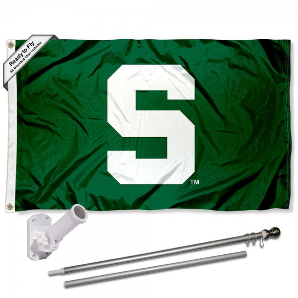 Our MSU Spartans Green Block S Flag Pole and Bracket Kit includes the flag as shown and the recommended flagpole and flag bracket. The flag is made of polyester, has quad-stitched flyends, and the NCAA Licensed team logos are double sided screen printed. The flagpole and bracket are made of rust proof aluminum and includes all hardware so this kit is ready to install and fly.