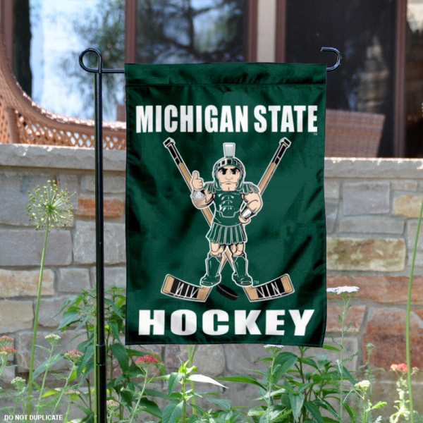 MSU Spartans Hockey Yard Flag is 13x18 inches in size, is made of 2-layer polyester, screen printed Michigan State Spartans Hockey athletic logos and lettering. Available with Same Day Express Shipping, Our MSU Spartans Hockey Yard Flag is officially licensed and approved by Michigan State Spartans Hockey and the NCAA.