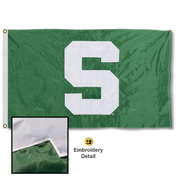 MSU Spartans Nylon Embroidered Flag measures 3'x5', is made of 100% nylon, has quadruple flyends, two metal grommets, and has double sided appliqued and embroidered University logos. These MSU Spartans 3x5 Flags are officially licensed by the selected university and the NCAA.