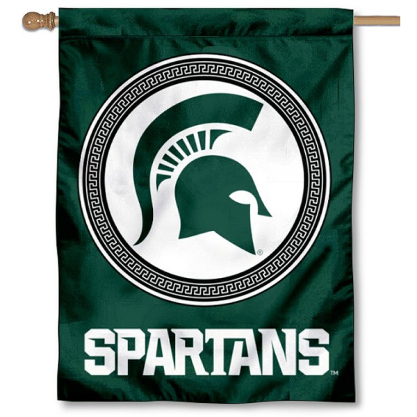 "MSU Spartans Shield House Flag is a double sided vertical house flag which measures 30"" x 40"" inches, is made of thick 100% polyester, offers screen printed NCAA team insignias, and has a top pole sleeve to hang vertically. Our MSU Spartans Shield House Flag is officially licensed by the selected university and the NCAA and is double sided."