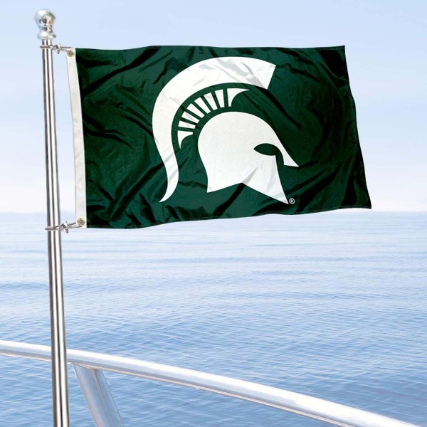 MSU Spartans Spartan Helmet Boat Flag is 12x18 inches, nylon, offers quadruple stitched flyends for durability, has two metal grommets, and is double sided. Our mini flags for MSU Spartans are licensed by the university and NCAA and can be used as a boat flag, motorcycle flag, golf cart flag, or ATV flag.