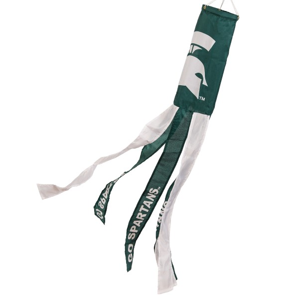 "MSU Spartans Sparty Windsock measures 40"" in length by 5"" in width, is made of 100% polyester, offers screen printed NCAA team logos, team names and insignias, has 6 alternative colored streamers and tails, includes a double stringed bridle and hanging swivel clip, and our MSU Spartans Sparty Windsock is authentic, licensed, and approved by the selected university or team."