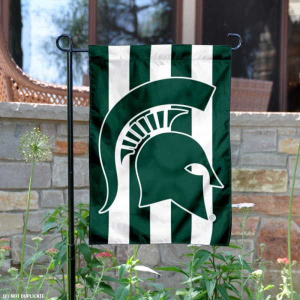 MSU Spartans Stripe Out Garden Flag is 13x18 inches in size, is made of 2-layer polyester, screen printed university athletic logos and lettering. Available with Same Day Express Shipping, our MSU Spartans Stripe Out Garden Flag is officially licensed and approved by the university and the NCAA.