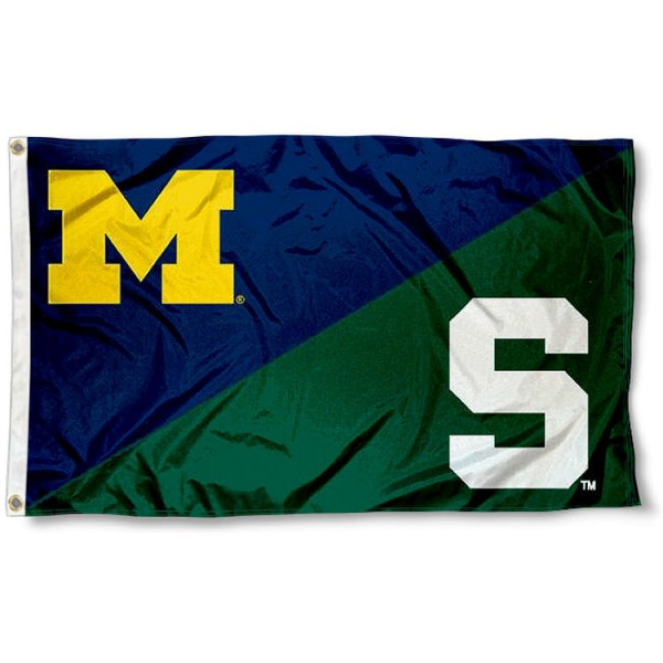 MSU Spartans vs. UM Wolverines House Divided 3x5 Flag sizes at 3x5 feet, is made of 100% polyester, has quadruple-stitched fly ends, and the university logos are screen printed into the MSU Spartans vs. UM Wolverines House Divided 3x5 Flag. The MSU Spartans vs. UM Wolverines House Divided 3x5 Flag is approved by the NCAA and the selected universities.