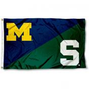 MSU Spartans vs. UM Wolverines House Divided 3x5 Flag