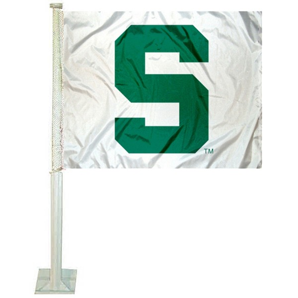 MSU Spartans White Car Window Flag measures 12x15 inches, is constructed of sturdy 2 ply polyester, and has screen printed school logos which are readable and viewable correctly on both sides. MSU Spartans White Car Window Flag is officially licensed by the NCAA and selected university.
