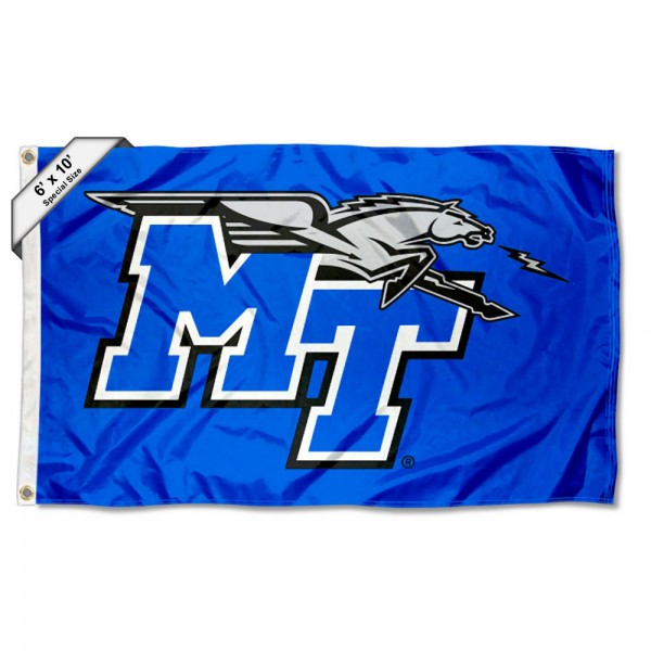 MTSU Blue Raiders 6'x10' Flag measures 6x10 feet, is made of thick poly, has quadruple-stitched fly ends, and MTSU Blue Raiders logos are screen printed into the MTSU Blue Raiders 6'x10' Flag. This MTSU Blue Raiders 6'x10' Flag is officially licensed by and the NCAA.