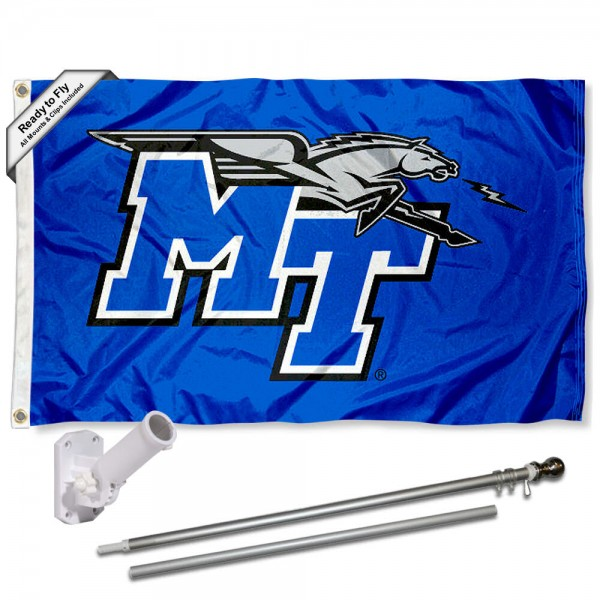 Our MTSU Blue Raiders Flag Pole and Bracket Kit includes the flag as shown and the recommended flagpole and flag bracket. The flag is made of polyester, has quad-stitched flyends, and the NCAA Licensed team logos are double sided screen printed. The flagpole and bracket are made of rust proof aluminum and includes all hardware so this kit is ready to install and fly.