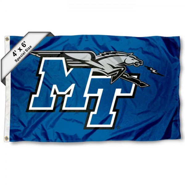 MTSU Blue Raiders Large 4x6 Flag measures 4x6 feet, is made thick woven polyester, has quadruple stitched flyends, two metal grommets, and offers screen printed NCAA MTSU Blue Raiders Large athletic logos and insignias. Our MTSU Blue Raiders Large 4x6 Flag is officially licensed by MTSU Blue Raiders and the NCAA.
