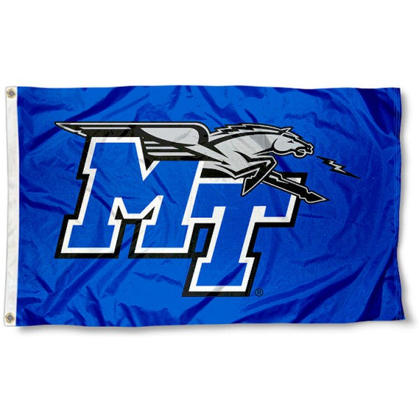 MTSU Flag measures 3'x5', is made of 100% poly, has quadruple stitched sewing, two metal grommets, and has double sided Houston University logos. Our MTSU Flag is officially licensed by the selected university and the NCAA.