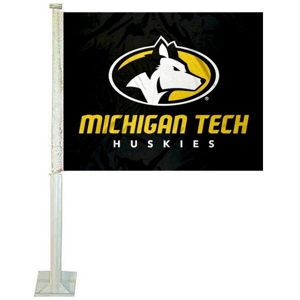 MTU Huskies Logo Car Flag measures 12x15 inches, is constructed of sturdy 2 ply polyester, and has screen printed school logos which are readable and viewable correctly on both sides. MTU Huskies Logo Car Flag is officially licensed by the NCAA and selected university.