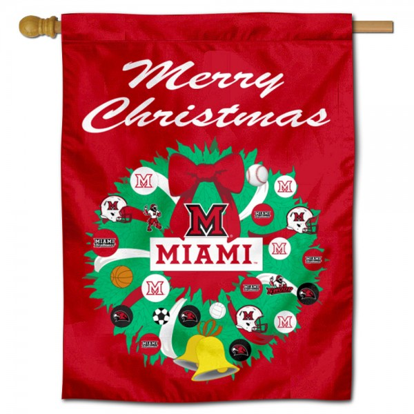 MU Redhawks Happy Holidays Banner Flag measures 30x40 inches, is made of poly, has a top hanging sleeve, and offers dye sublimated MU Redhawks logos. This Decorative MU Redhawks Happy Holidays Banner Flag is officially licensed by the NCAA.