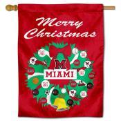 MU Redhawks Happy Holidays Banner Flag